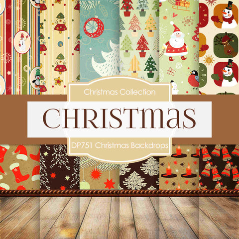 Christmas Backdrops Digital Paper DP751 - Digital Paper Shop - 1