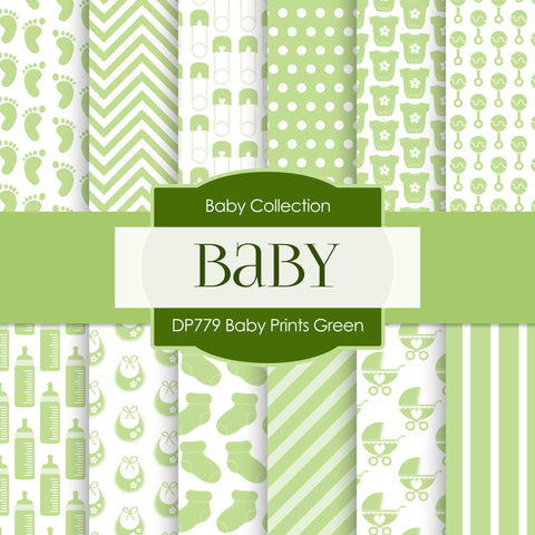 Baby Prints Green Digital Paper DP779 - Digital Paper Shop - 1