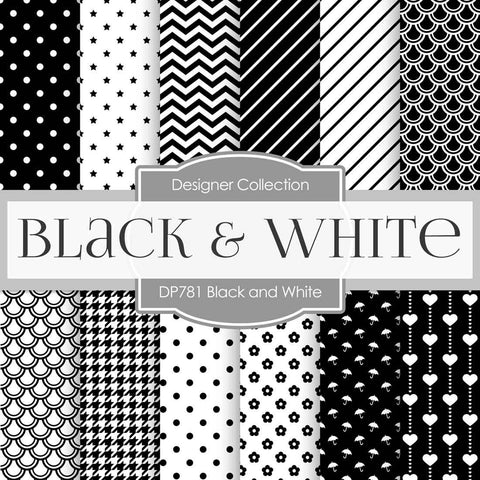 Black And White Digital Paper DP781 - Digital Paper Shop - 1