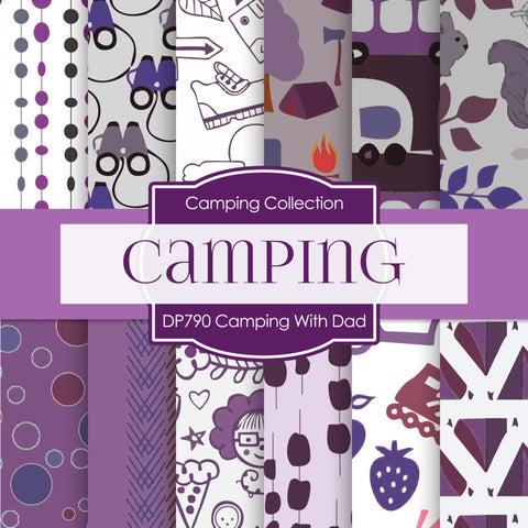 Camping With Dad Digital Paper DP790 - Digital Paper Shop - 1