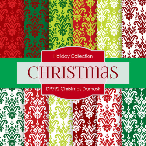 Christmas Damask Digital Paper DP792 - Digital Paper Shop - 1