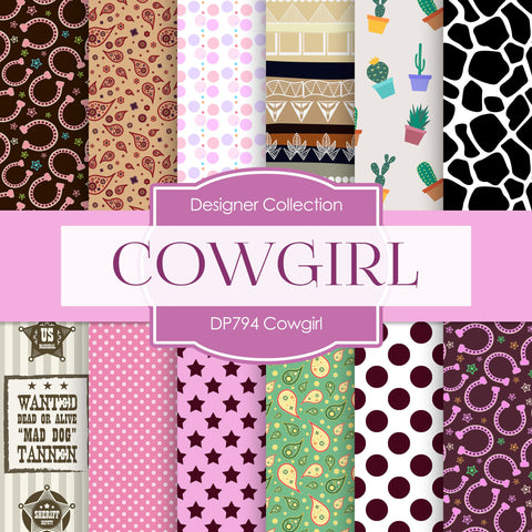 Cowgirl Digital Paper DP794 - Digital Paper Shop - 1