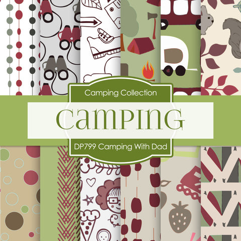 Camping With Dad Digital Paper DP799 - Digital Paper Shop - 1