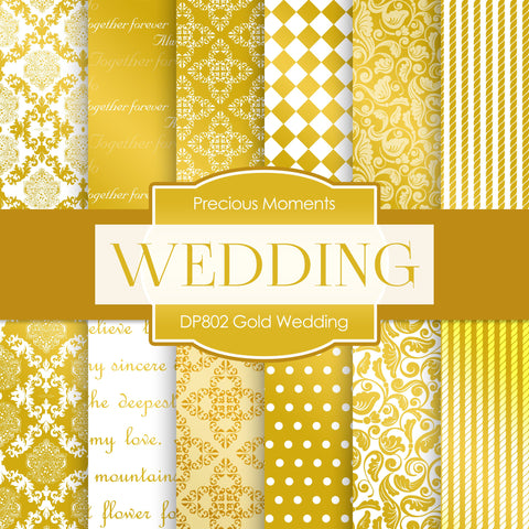 Gold Wedding Digital Paper DP802 - Digital Paper Shop - 1