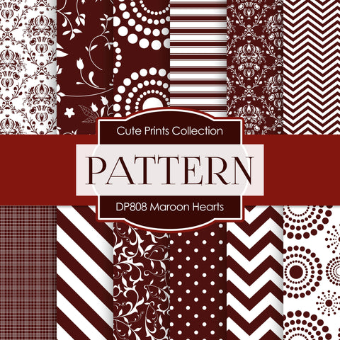 Maroon Hearts Digital Paper DP808 - Digital Paper Shop - 1