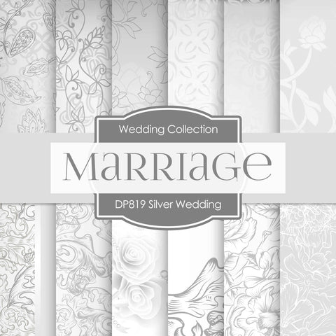 Silver Wedding Digital Paper DP819 - Digital Paper Shop - 1