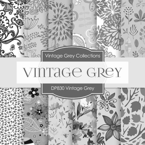 Vintage Gray Digital Paper DP830 - Digital Paper Shop - 1