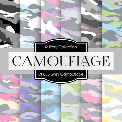 Grey Camouflage Digital Paper DP833 - Digital Paper Shop - 1