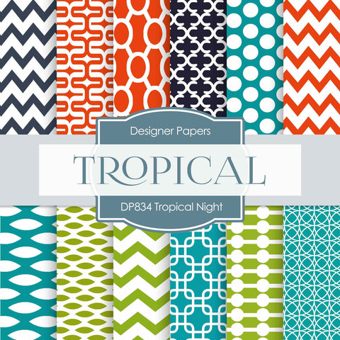 Tropical Night Digital Paper DP834 - Digital Paper Shop - 1