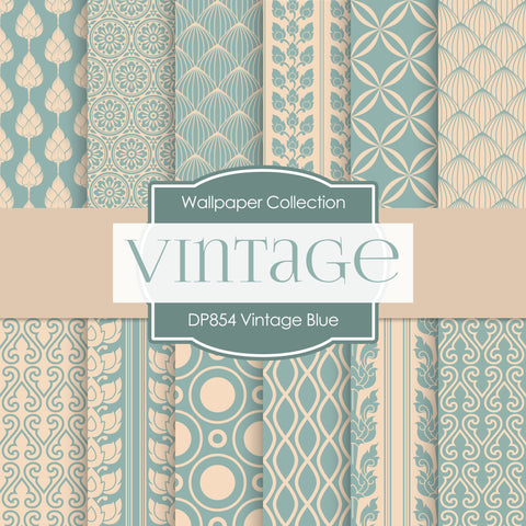 Vintage Blue Digital Paper DP854 - Digital Paper Shop - 1