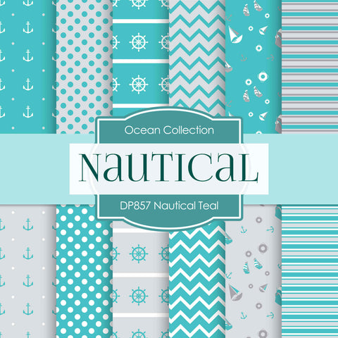 Nautical Teal Digital Paper DP857 - Digital Paper Shop - 1