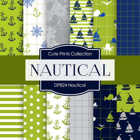 Green Nautical Digital Paper DP859 - Digital Paper Shop - 1