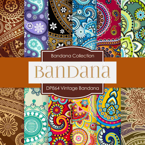 Vintage Bandana Digital Paper DP864 - Digital Paper Shop - 1
