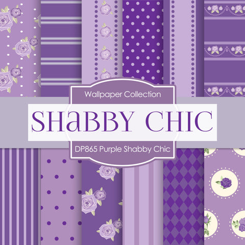 Purple Shabby Chic Digital Paper DP865 - Digital Paper Shop - 1