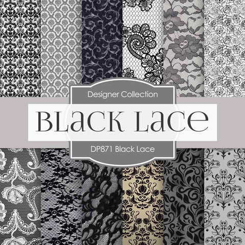 Black Lace Digital Paper DP871 - Digital Paper Shop - 1