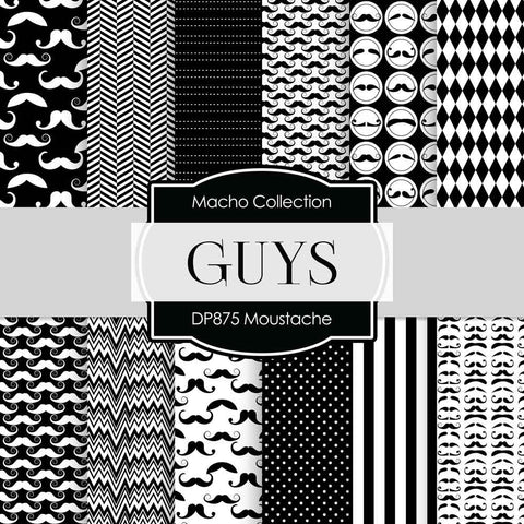 Moustaches Digital Paper DP875 - Digital Paper Shop - 1