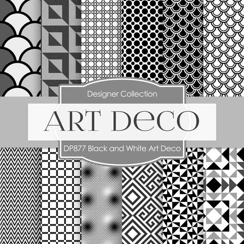 Black and White Art Deco Digital Paper DP877 - Digital Paper Shop - 1