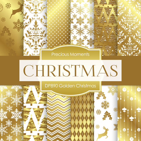 Golden Christmas Digital Paper DP890 - Digital Paper Shop - 1