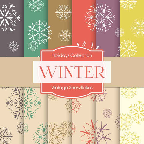 Vintage Snowflakes Digital Paper DP893 - Digital Paper Shop - 1
