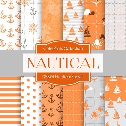 Nautical Sunset Digital Paper DP894 - Digital Paper Shop - 1