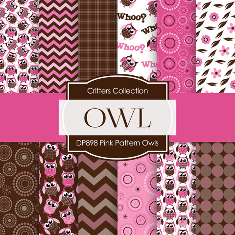 Pink Pattern Owls Digital Paper DP898A - Digital Paper Shop - 1