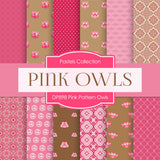 Pink Pattern Owls Digital Paper DP898 - Digital Paper Shop - 1