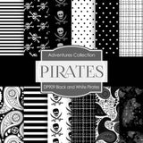 Black and White Pirates Digital Paper DP909 - Digital Paper Shop - 1