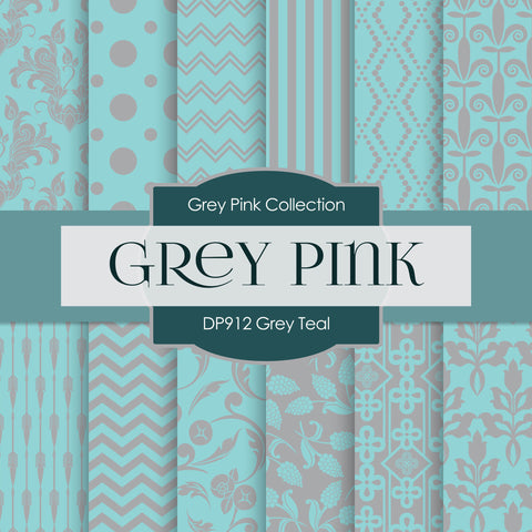Grey Teal Digital Paper DP912 - Digital Paper Shop - 1