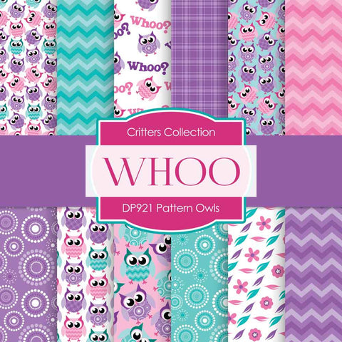 Pattern Owls Digital Paper DP921 - Digital Paper Shop - 1