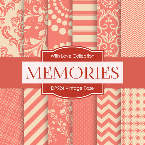 Vintage Rose Digital Paper DP924 - Digital Paper Shop - 1