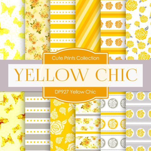 Yellow Chic Digital Paper DP927 - Digital Paper Shop - 1