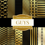 Gold Moustaches Digital Paper DP929 - Digital Paper Shop - 1