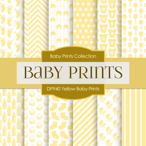 Yellow Baby Prints Digital Paper DP940 - Digital Paper Shop - 1