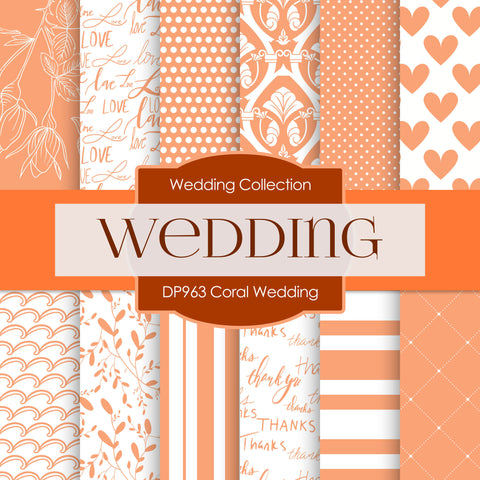Coral Wedding Digital Paper DP963 - Digital Paper Shop - 1