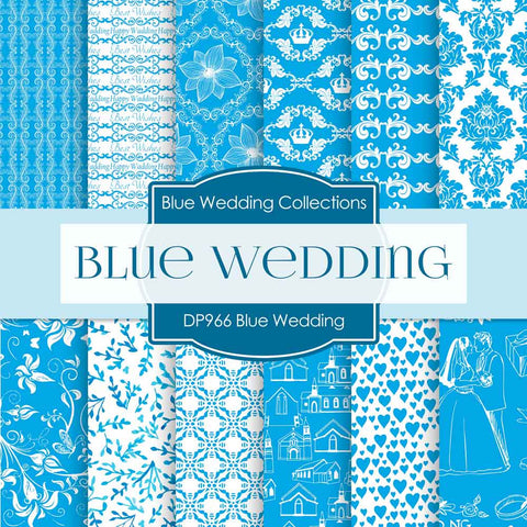 Blue Wedding Digital Paper DP966 - Digital Paper Shop - 1