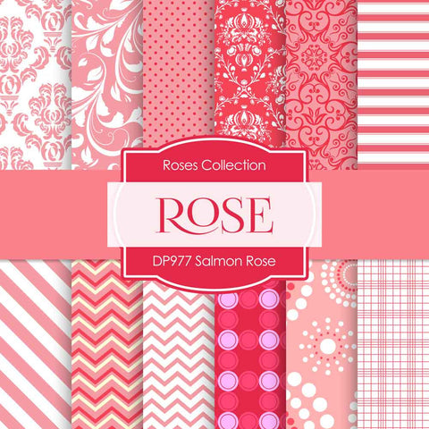 Salmon Rose Digital Paper DP977 - Digital Paper Shop - 1