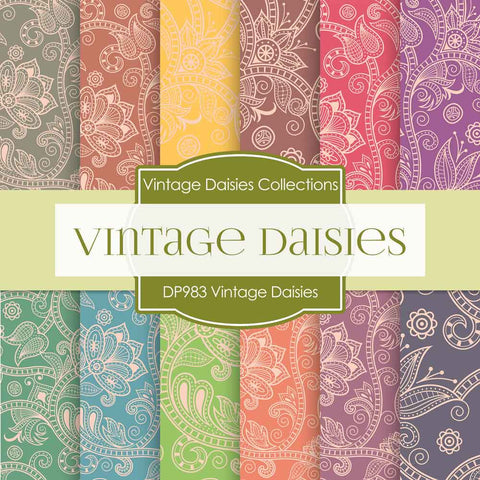 Vintage Daisies Digital Paper DP983 - Digital Paper Shop - 1