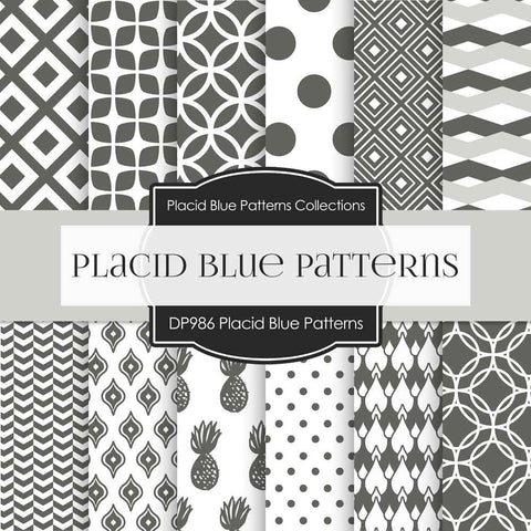 Placid Blue Patterns Digital Paper DP986 - Digital Paper Shop - 1