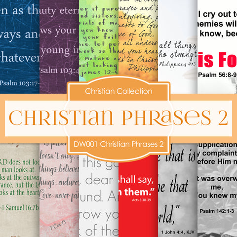 Christian Phrases 2 Digital Paper DW001