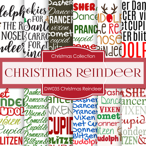 Christmas Reindeer Digital Paper DW035