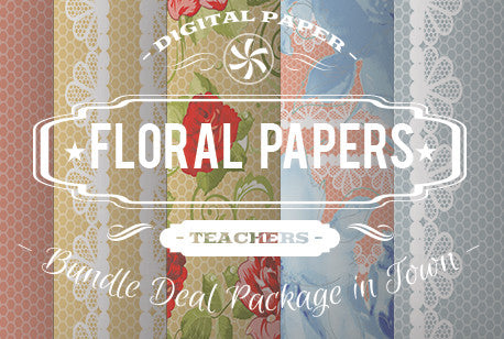 Digital Papers - Floral Papers Bundle Deal - Digital Paper Shop