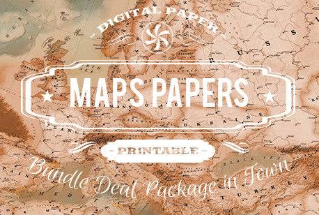 Digital Papers - Maps Patterns Bundle Deal - Digital Paper Shop