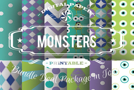 Digital Papers - Monster Papers Bundle Deal - Digital Paper Shop