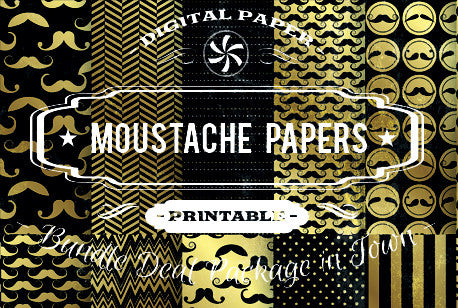 Digital Papers - Moustache Papers Bundle Deal - Digital Paper Shop