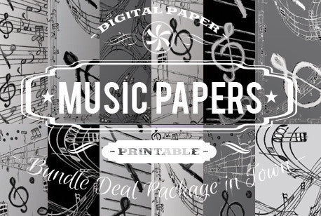 Digital Papers - Music Papers Bundle Deal - Digital Paper Shop
