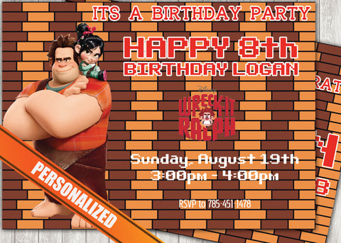 Wreck It Ralph Greeting Card PC137 - Digital Paper Shop - 1