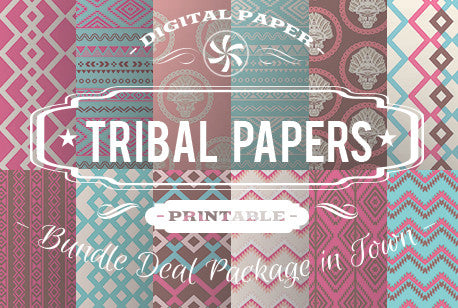 Digital Papers - Tribal Papers Bundle Deal - Digital Paper Shop
