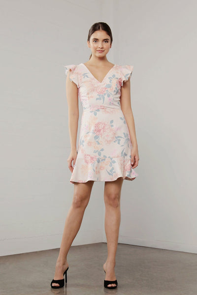 UTOPIA FLORA RUFFLE SLEEVE DRESS