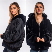 Load image into Gallery viewer, Reversible Faux Fur Bomber Jacket