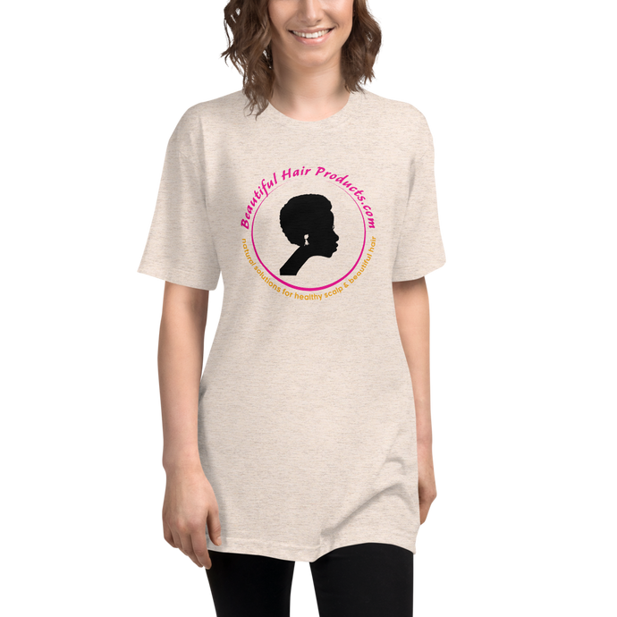 tri-blend track T-shirt women oatmeal